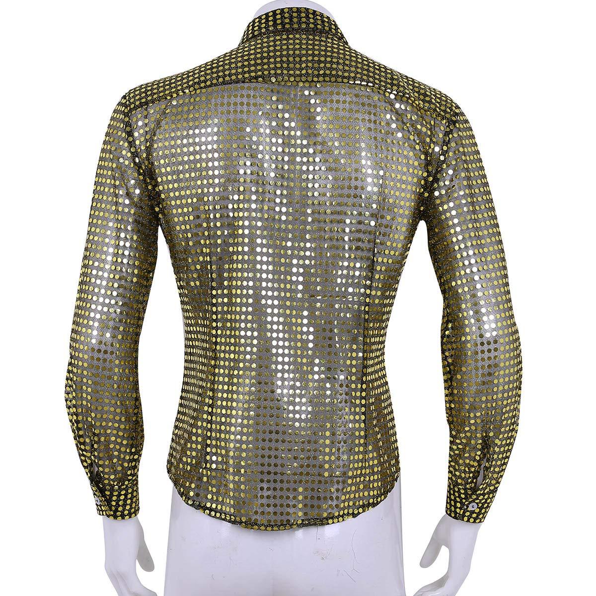iiniim Herren Hemd Lamgarm Shirt Glänzende Pailletten Tops Party Club  Tanzen Disco Cosplay Shirt M-XL  Amazon.de  Bekleidung 368b580a06