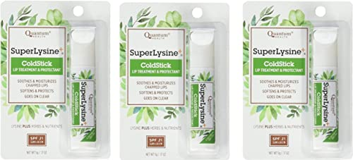 Super Lysine Plus ColdStick, SPF 21, Regular 0.18 oz Pack of 3 by Quantum Research