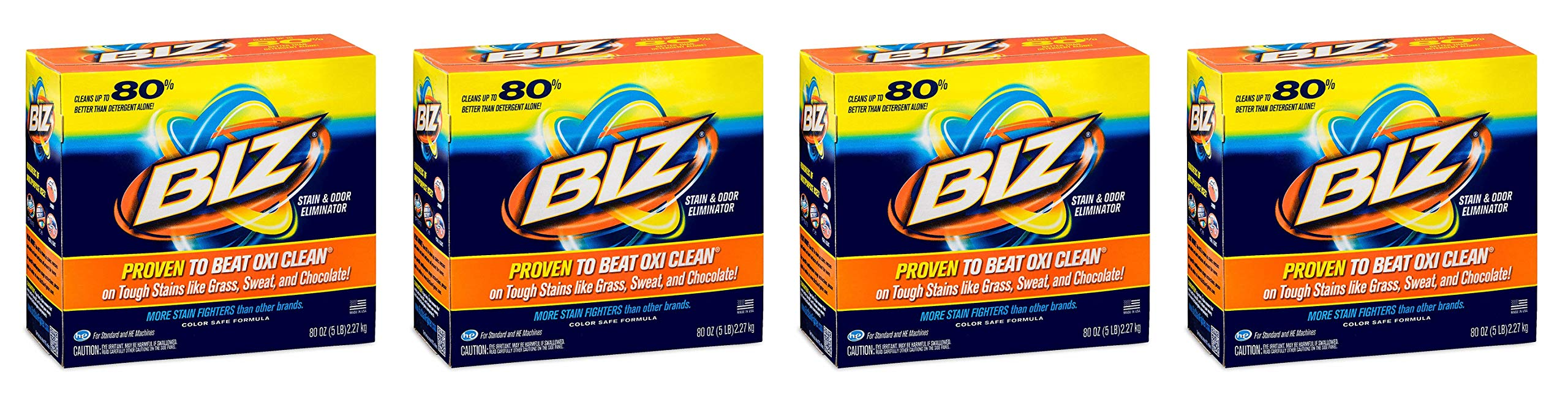 BIZ Stain & Odor Eliminator Laundry Detergent Powder (80 oz.) (4-(Pack))