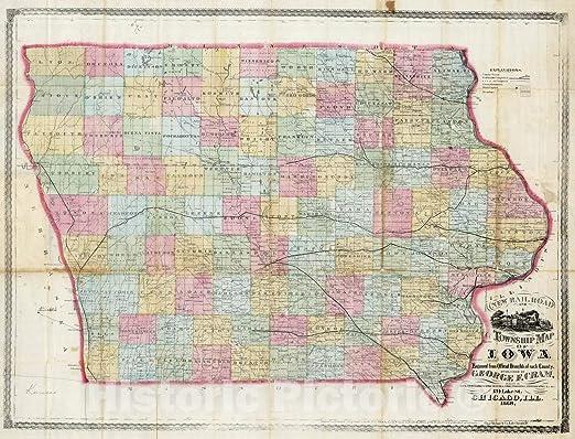 24x36 Vintage Reproduction Historic Map Iowa City Iowa Johnson County 1868