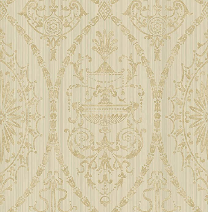 Victorian Damask Wallpaper Gold Cream In Vintage Arts And Crafts Amazon Com