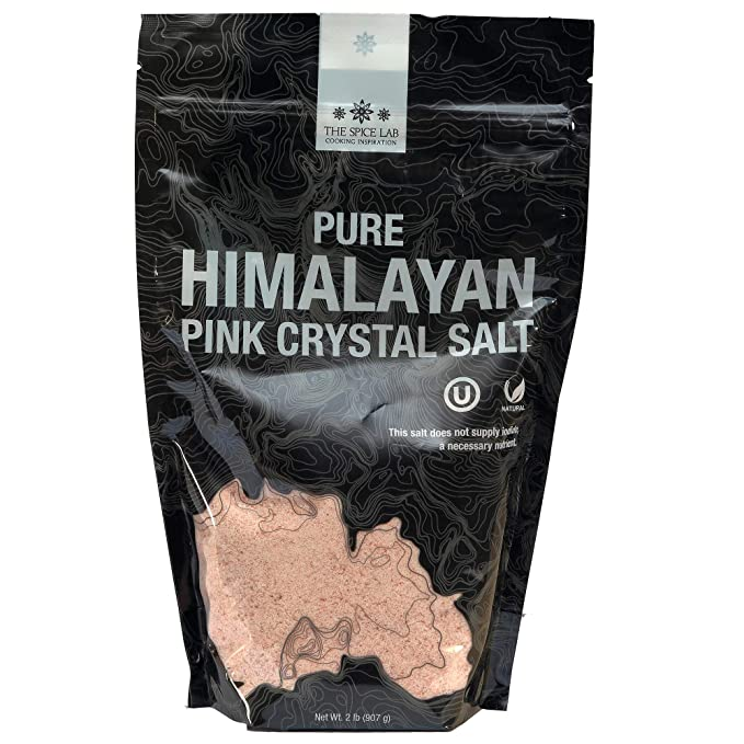The Spice Lab Himalayan Salt - Fine 2 Lb Bag - Pink Himalayan Salt is Nutrient and Mineral Dense for Health - Gourmet Pure Crystal - Kosher & Natural Certified