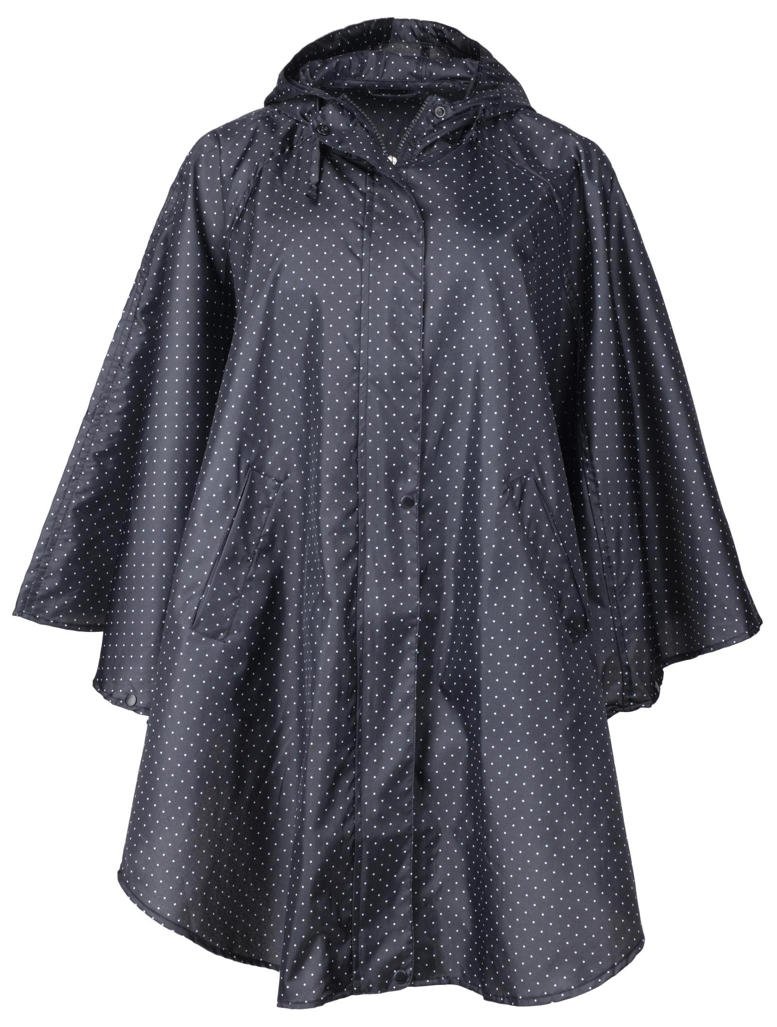 QZUnique Women's Waterproof Packable Rain Jacket Batwing-Sleeved Poncho Raincoat Black Spots