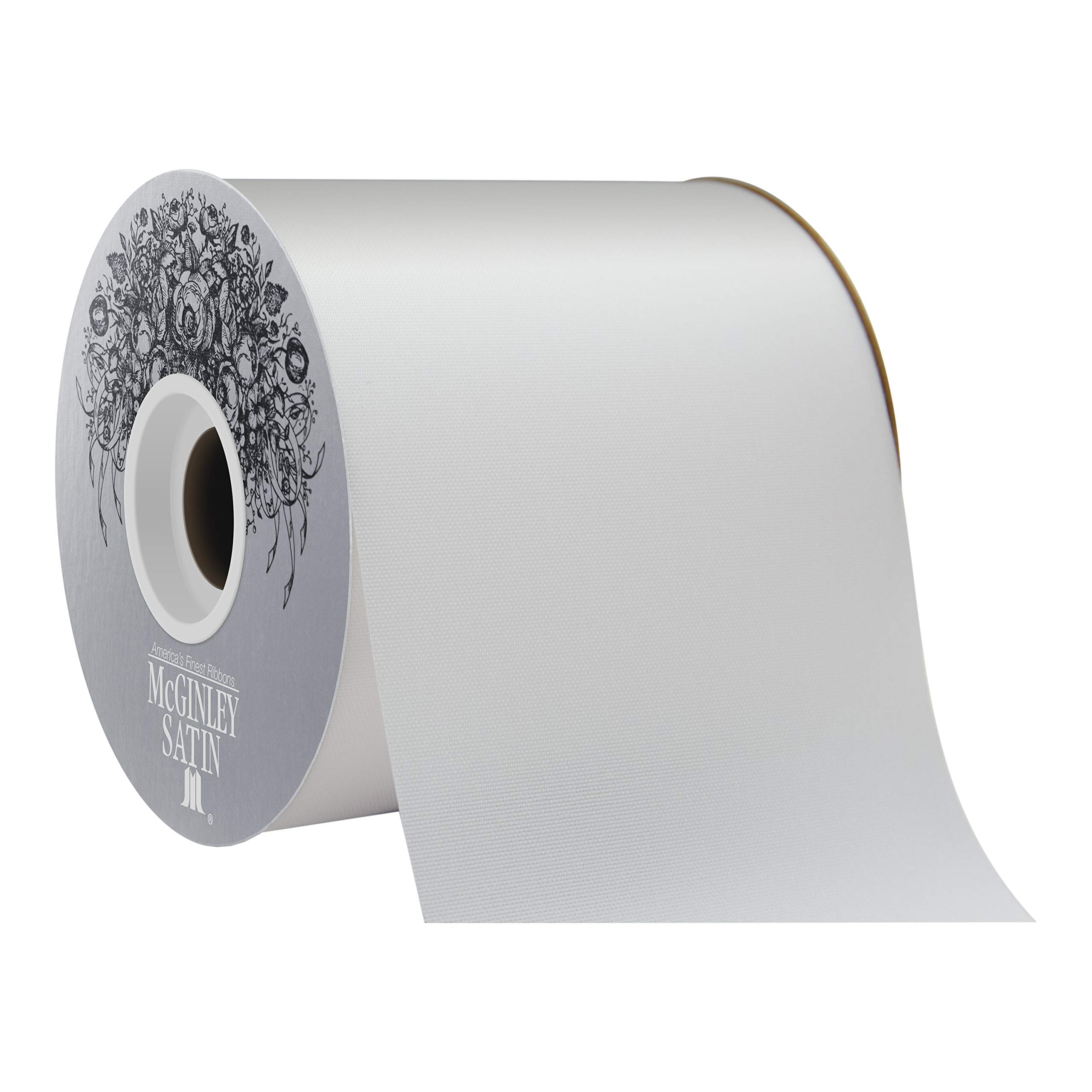 McGinley Mills 4'' W Acetate Satin Ribbon, White, 50 Yard Spool