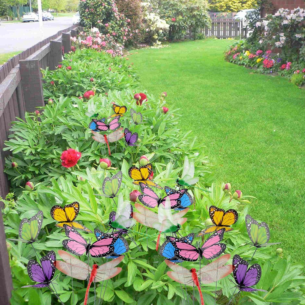 Amazon.com: AUSTOR 26 PCS Dragonfly Butterfly Stakes Garden ...