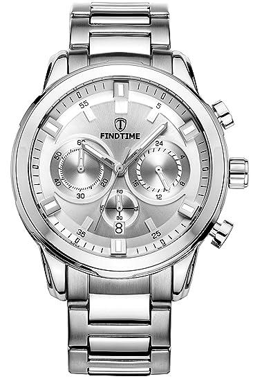 Findtime Relojes Hombre Cronógrafo Deportivos Acero Inoxidable Piel Clásica Luminoso Analogico Quartz: Amazon.es: Relojes