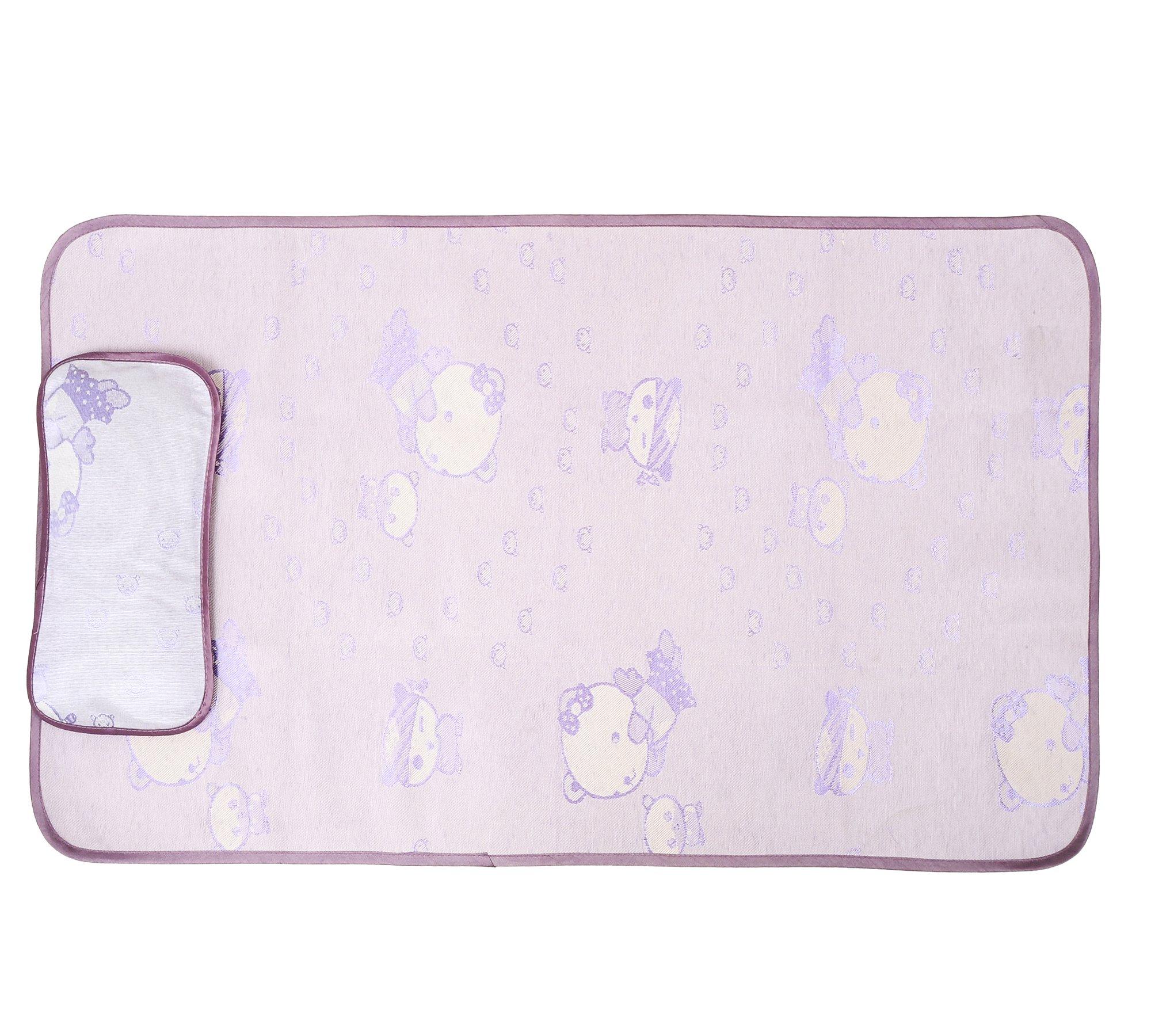 "Fairy Baby Flax Summer Cool Mat Baby Crib Pad 24"" Wx47 L,Purple Bear"