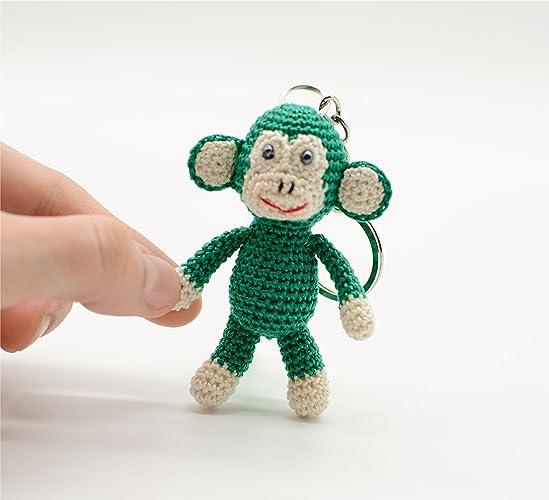 Llavero de mono verde, juguete de ganchillo relleno, regalos ...