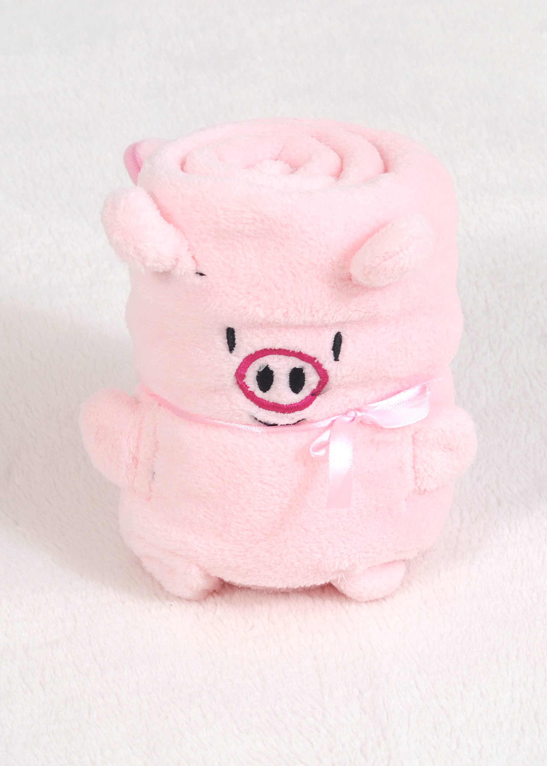 Plush Fleece Animal Pillow Blanket- Plush Travel Pillow Blanket for Baby or Small Child, Super Soft, Plushy Security Blanket, Snuggle, Transform - 32'' x 40'' (Pink Pig, Small)