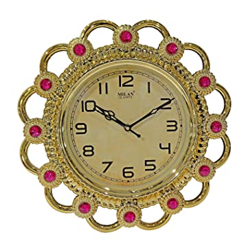Buy Confidence Designer Clock for Wall, Home Decors, Beautiful Gift for House Warming Ceremony, 30 Gram, Pack of 1 (Golden M3) Online at Low Prices in India ...