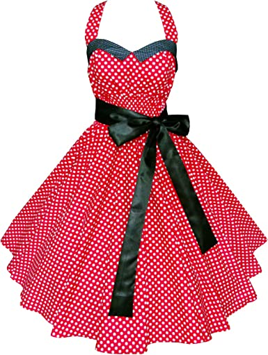 rockabilly French Maid Swing Kleid retro Polka Dots Petticoatkleid schwarz