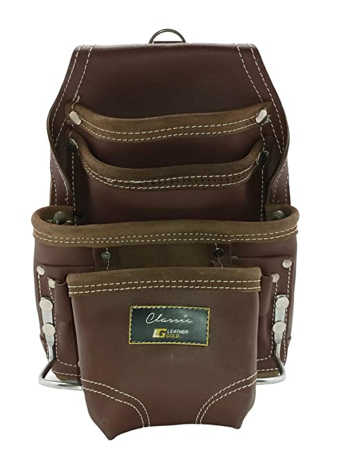 leather gold leather tool pouch | carpenters tool pouch 3350, brown ...