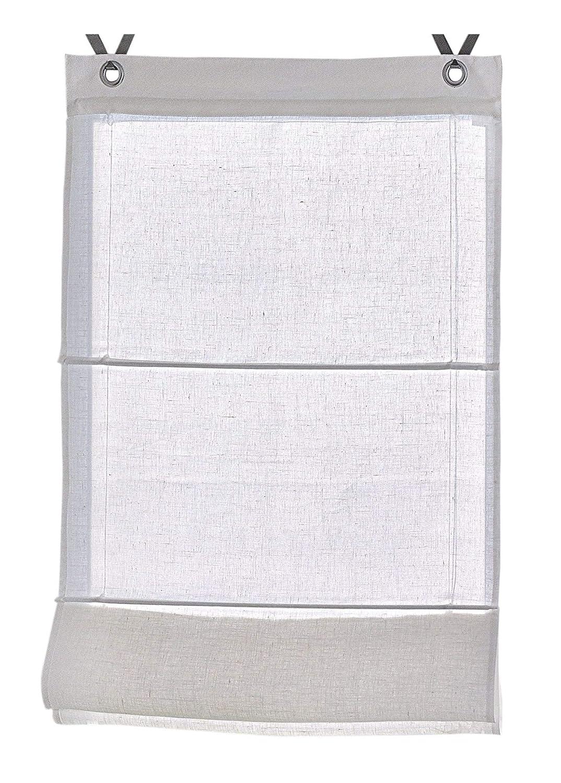 Rollos & More Tenda a pacchetto Metis Lino bianco, natura con occhielli 45, 60, 80, 100 * 140 cm (taglia 45 * 140 cm, linen)