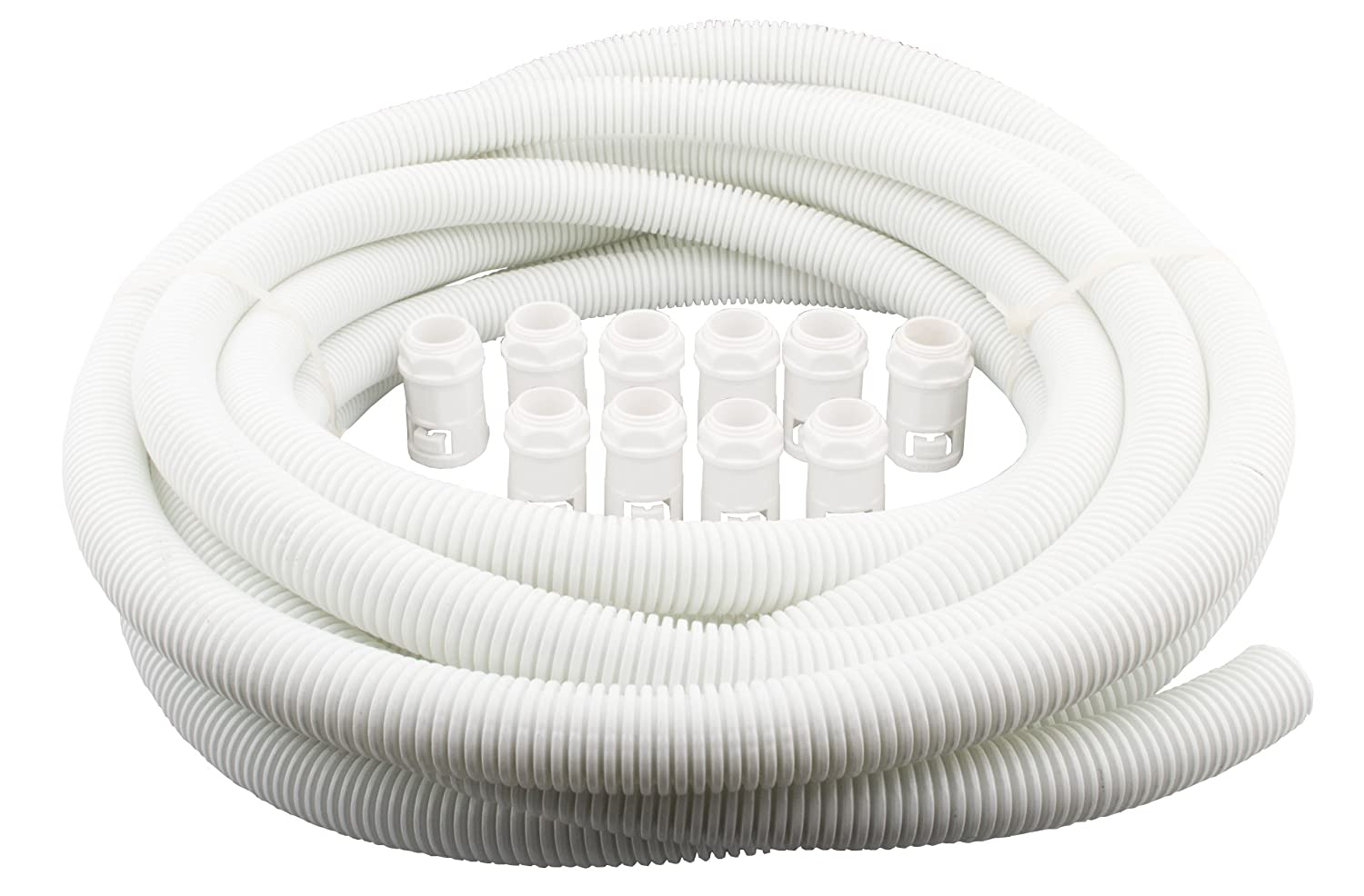 PDU Online 25MM Flexible Corrugated Conduit Contractor Pack WHITE 10 METRE PACK c/w 10 GLANDS