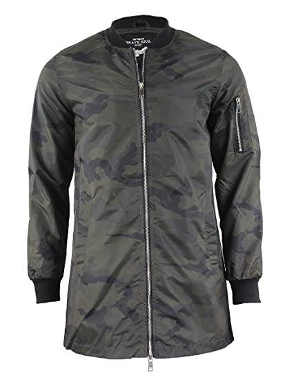 Brave Soul hommes veste camouflage Harrington long MA1 Mac Trench-coat  militaire - kaki - 003ed9c6708b