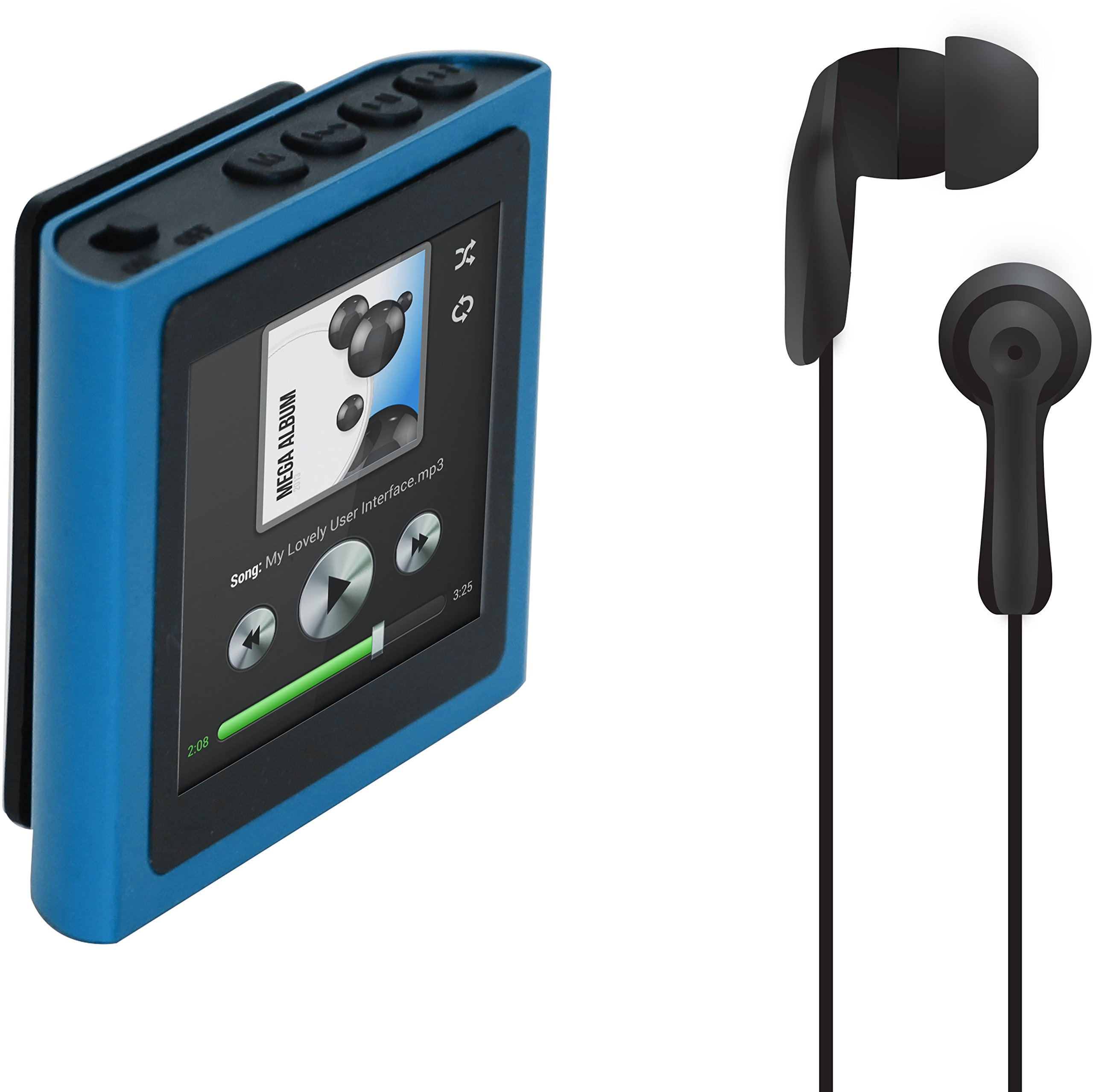 Polaroid PMP120-4BL Built-In Sports Clip Touch Screen Mp3 Player with Noise Isolating Earbuds for Sport Activities (blue)