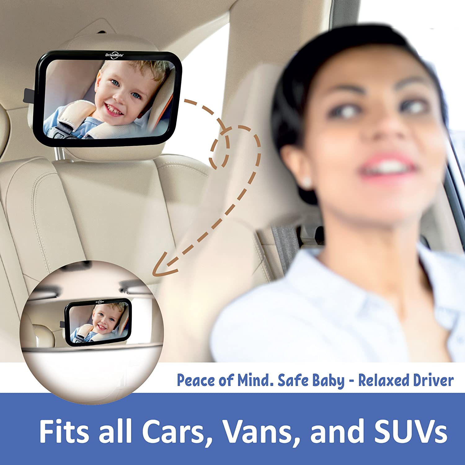 Fits Cars Toddlers Babies DriveMate Quick Glance Baby Car Mirror Large SUVs Wide Angle Backseat Rear View Clarity Trucks Shatterproof Safety Glass Adjustable Nylon Straps