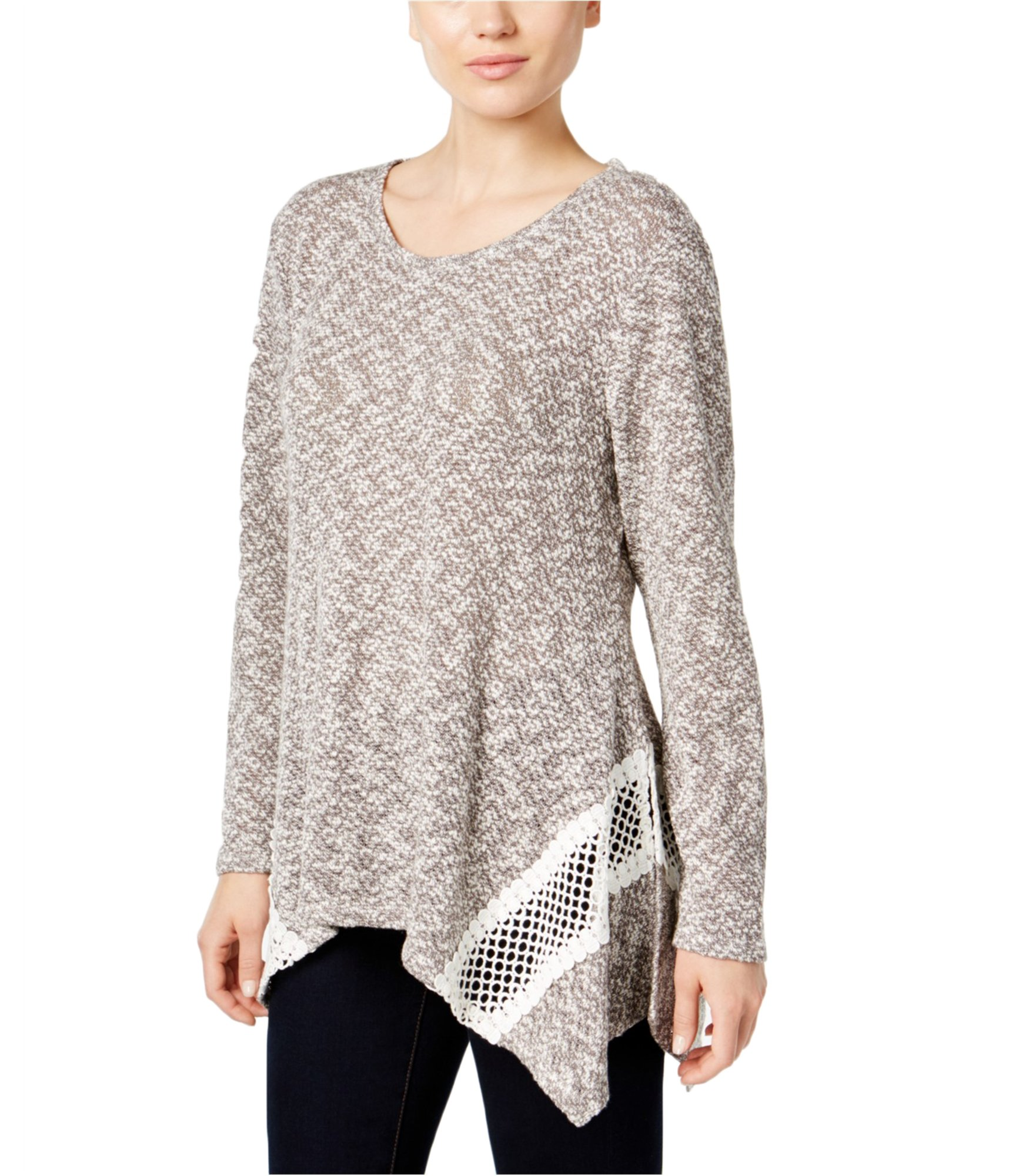 Style & Co. Womens Handkerchief-Hem Pullover Sweater Grey PM - Petite