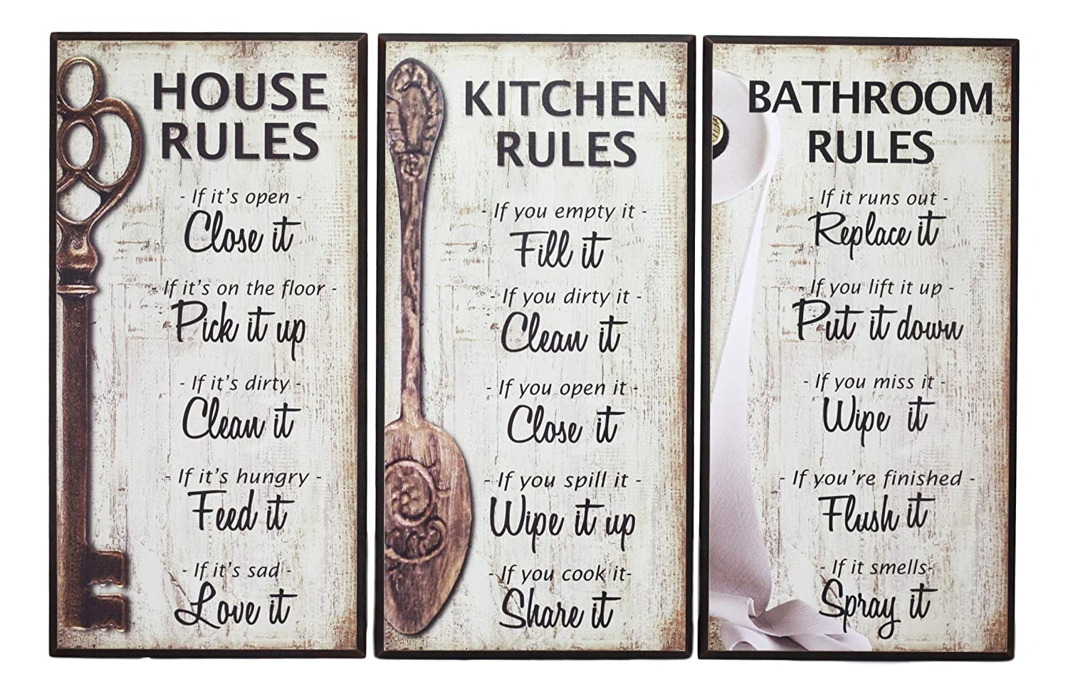 Ebros 7-Inch-by-14-Inch Rustic Country Wood Our Family Rules Wall Art Wooden Sign Decor for Kitchen House and Bathroom Walls Vintage Hanging Plaque Reminder Signs Set of 3