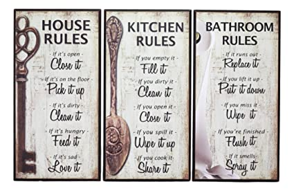 Ebros 7 Inch By 14 Inch Rustic Country Wood Our Family Rules Wall Art Wooden Sign Decor For Kitchen House And Bathroom Walls Vintage Hanging Plaque