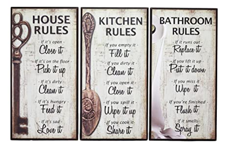 Country Printed Quality Wooden Sign And Hanger House Clean Yesterday Plaque New
