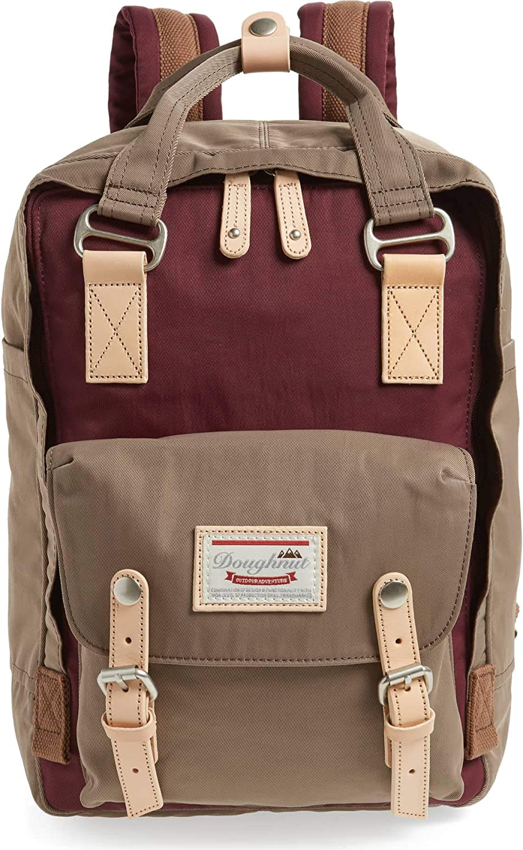 11x13.8x5.9 Casual Korean Twill Nylon Backpack Beige X Khaki Doughnut Macaroon Backpacks