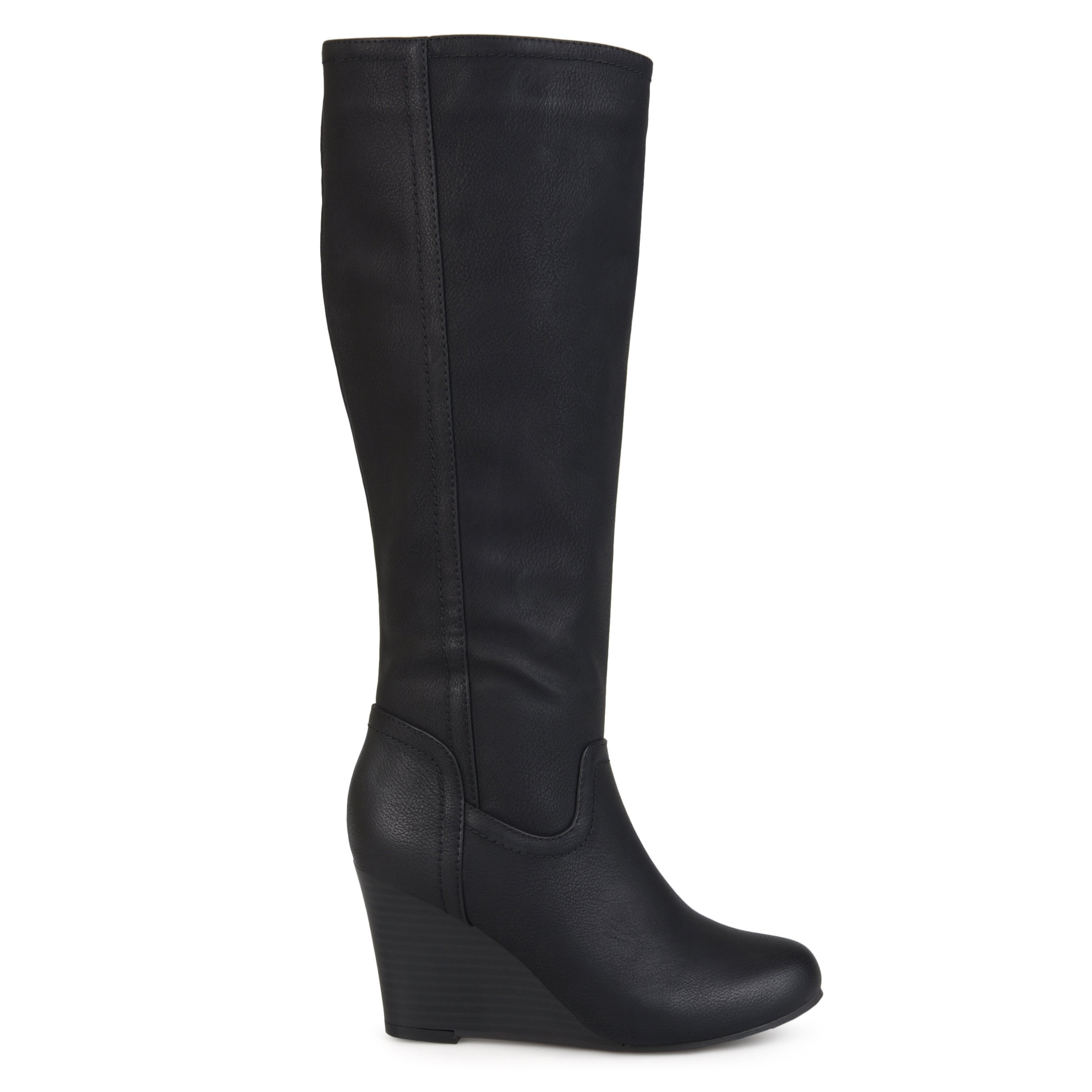 Brinley Co Womens Regular and Wide Calf Round Toe Faux Leather Mid-Calf Wedge Boots Black, 9 Wide Calf US