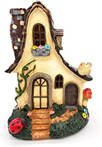 Narcolulu Fairy Garden House, Miniatures House Statues, Resin House with Vines and Small Animals (8 inches high)