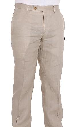 a8a9f2ea52 Ralph Lauren Men s Flat Front Solid Tan Linen Dress Pants at Amazon ...