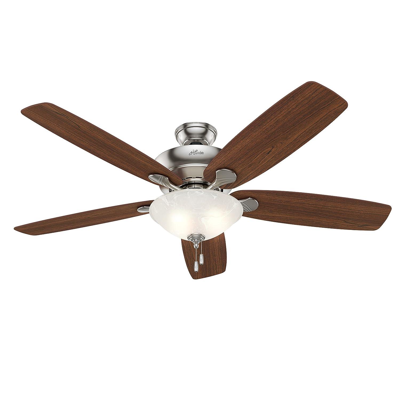 """Hunter Fan 60"""" Ceiling Fan in Brushed Nickel with Swirled Marble"""