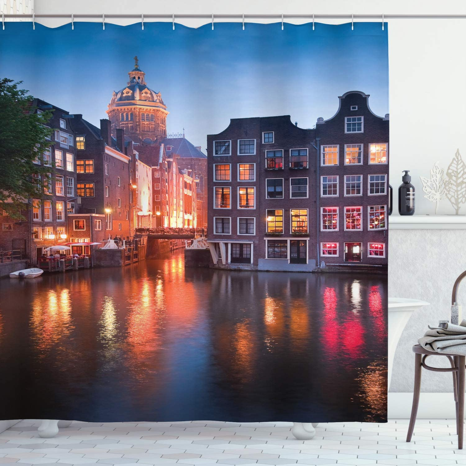 Ambesonne Wanderlust Decor Collection, Night Time Photography of the Neo-Renaissance Building Amsterdam, Polyester Fabric Bathroom Shower Curtain, 75 Inches Long, Orange