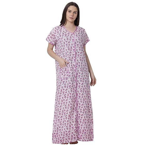 7ba876c54da GOLDSTROMS Minelli Women s Cotton Fabric Front Button Open Night Gown  White  Amazon.in  Clothing   Accessories