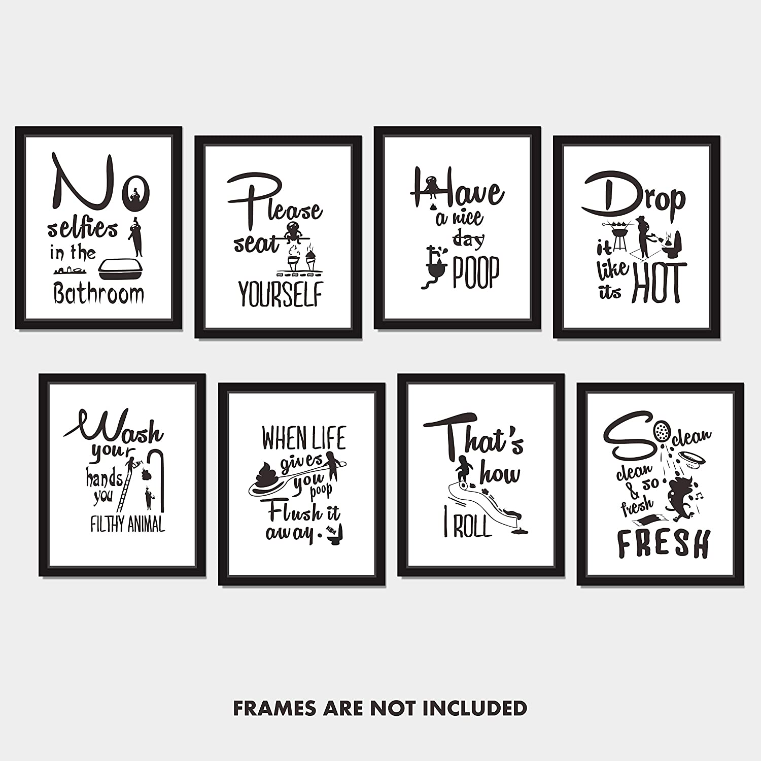 "Hebayy 8X Bathroom Art Picture Quotes Wall Décor Accessories Laminated and Flat Pack (Each Measures 10"" X 8"")"