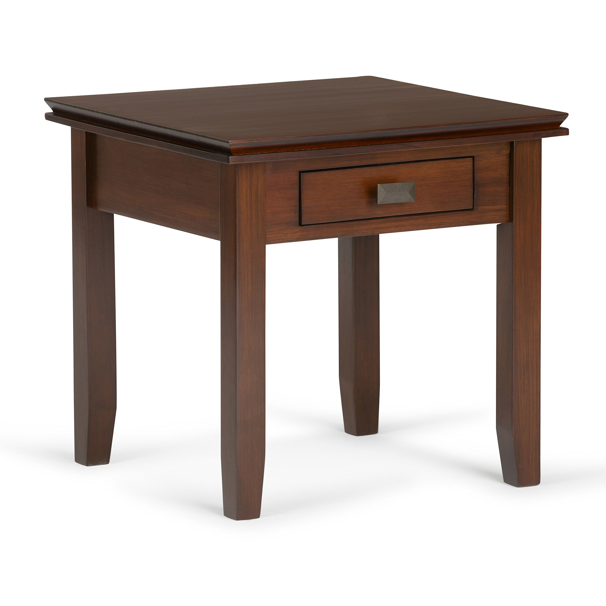 Simpli Home Artisan Solid Wood End Table, Medium Auburn Brown