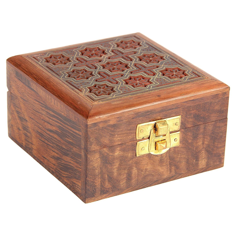 *Handarbeit Schmuckschatulle aus Holz mit Sternmotiven*