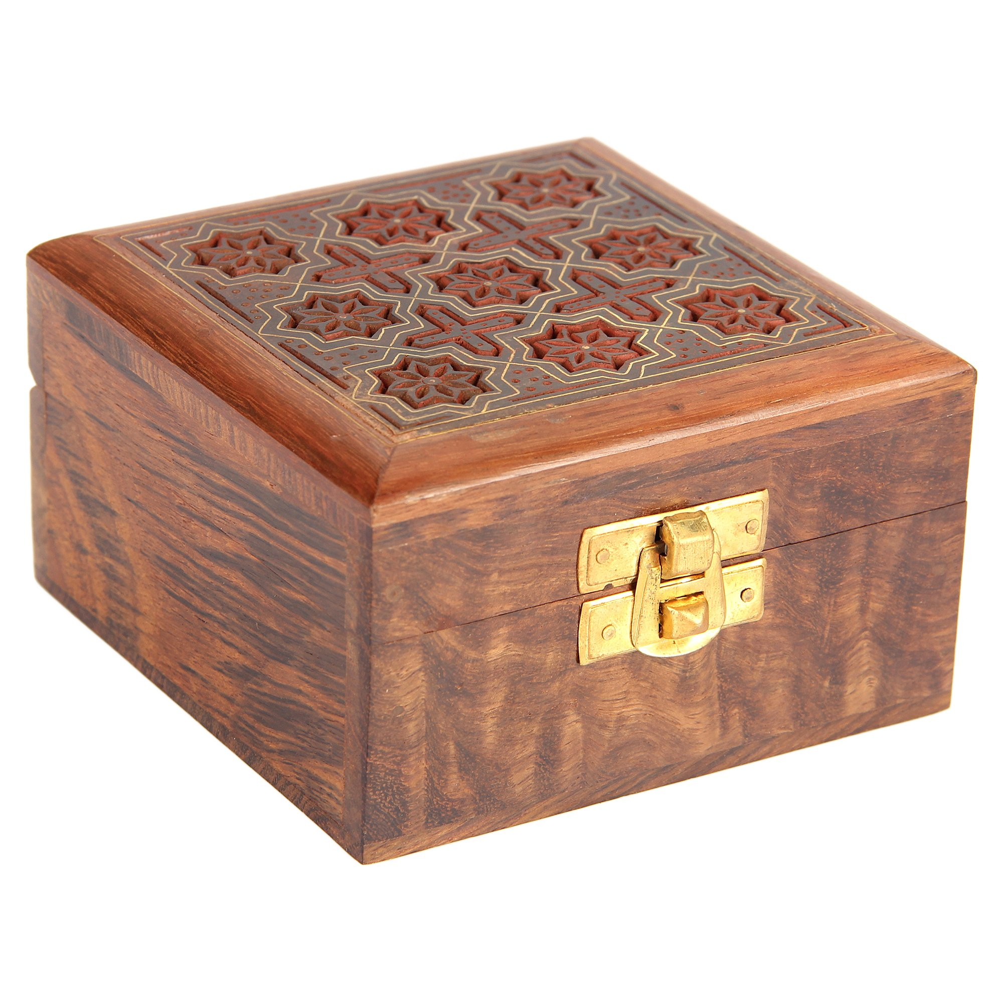 Indian Jewelry Holder - 4 x 4 x 2.25 Inch Small Wood Box - Jewelry Boxes for Bracelet - Present for Her