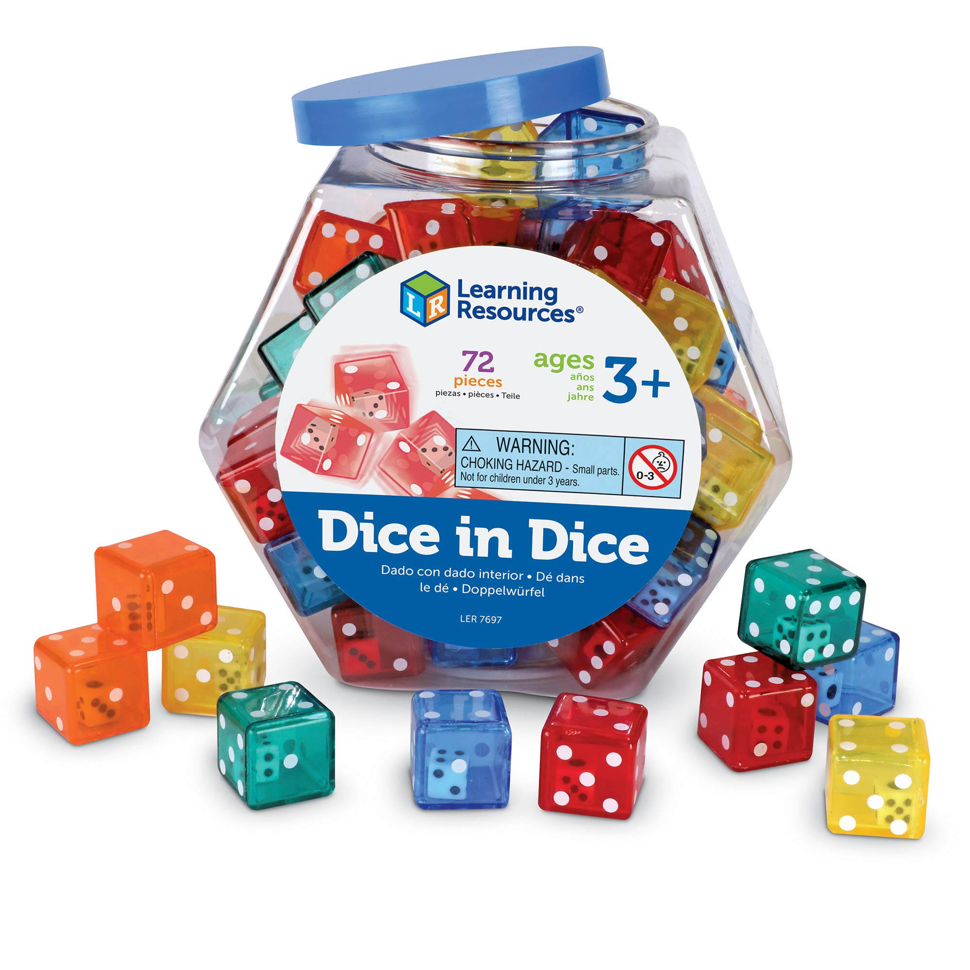 Learning Resources Dice In Dice Bucket, Math Toy, Manipulative, Set of 72, Ages 3+ by Learning Resources