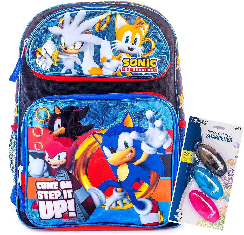 "Sonic The Hedgehog Backpack 16/"" Large Backpack Licensed Product For Kids Boom"
