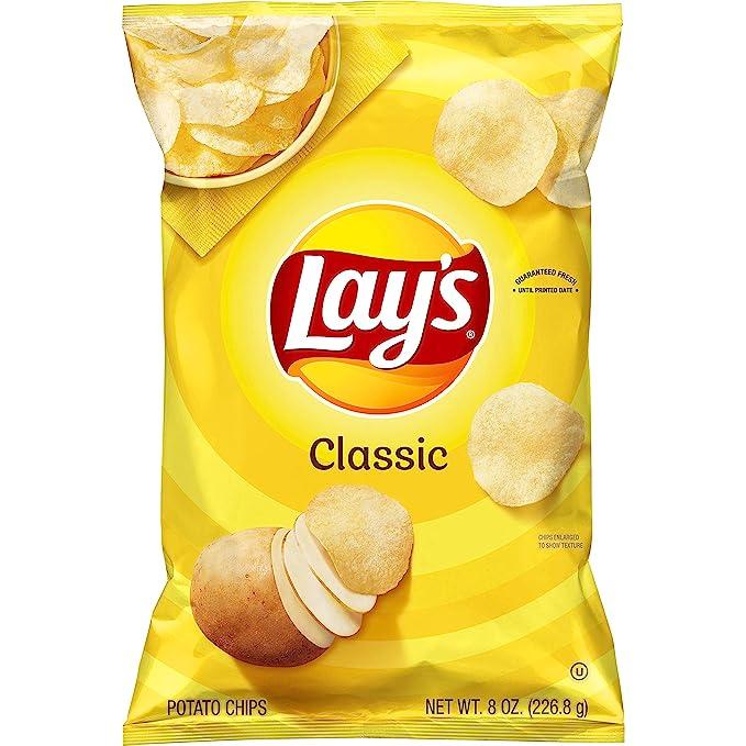 Lay's Potato Chips, Classic Flavor, 8oz Bag