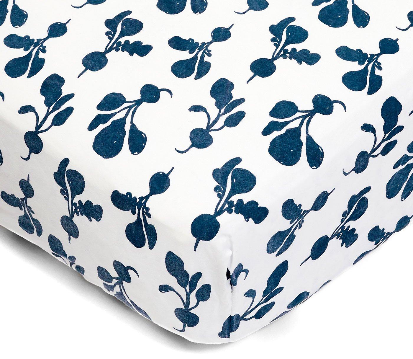Lewis Organic Cotton Fitted Crib Sheet Radish Print 100% Organic Cotton Percale, Denim