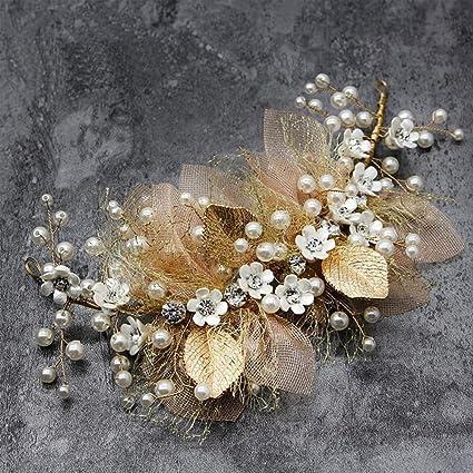 19ce36b3c Bocianelli Wedding Headpieces Flower Wreath, Pearls Bridal Headband Tiara, Crystals  Hair Accessories for Bride