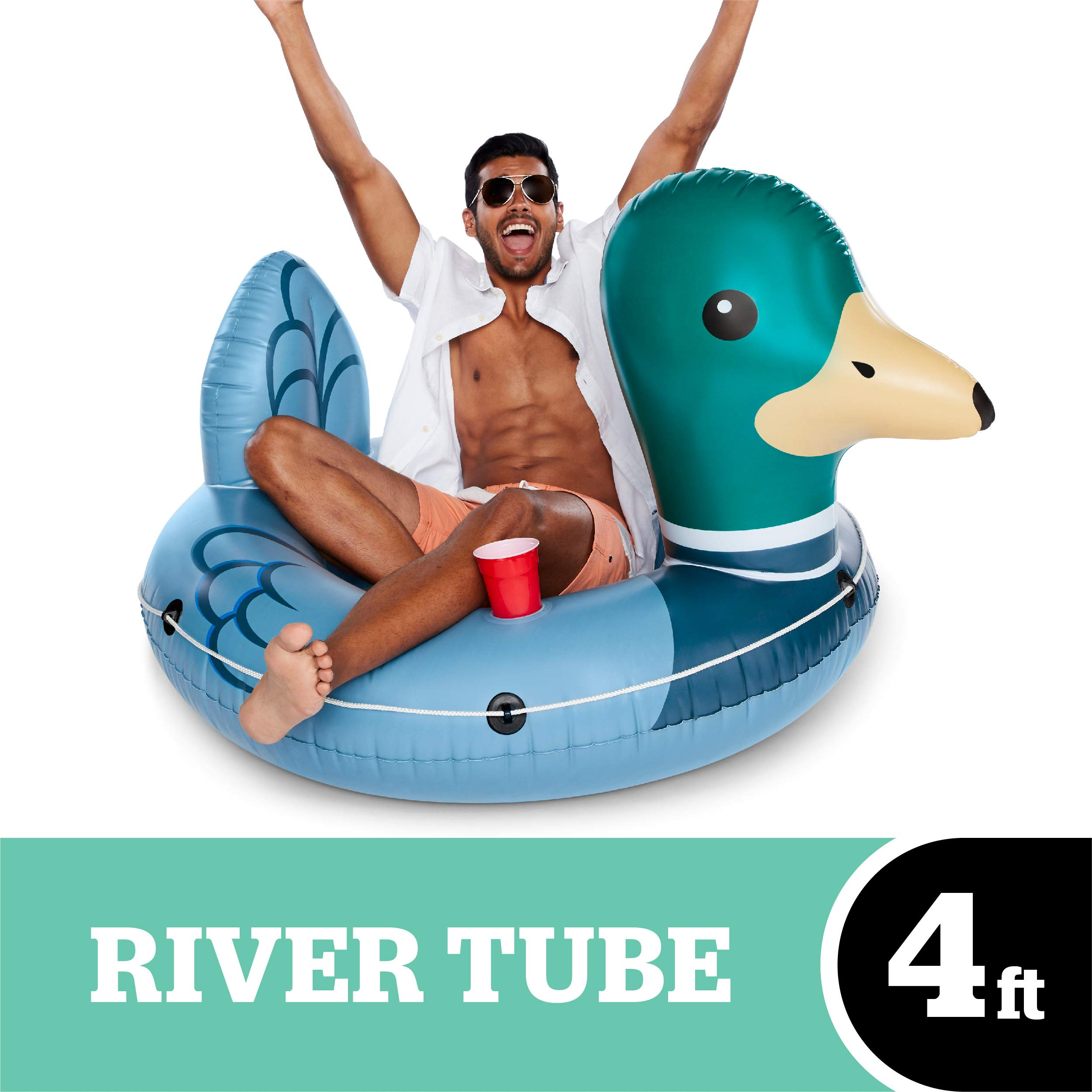 BigMouth Inc Driftin' Duck River Raft, Giant Inflatable River Tube with Rope, Funny Float by BigMouth Inc