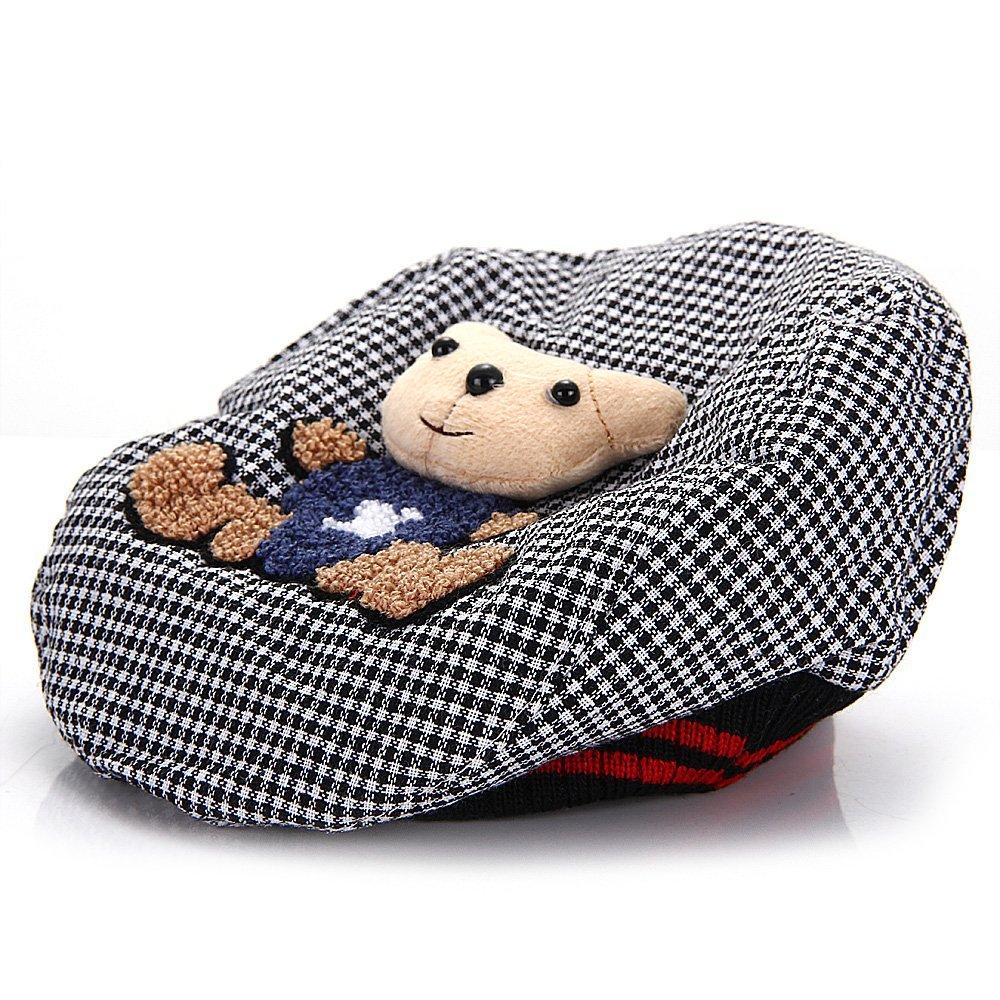 Chapeau Béret Bonnet Casquette Carreaux Noir pour Enfant Bébé Fille Garçon SODIAL 038800