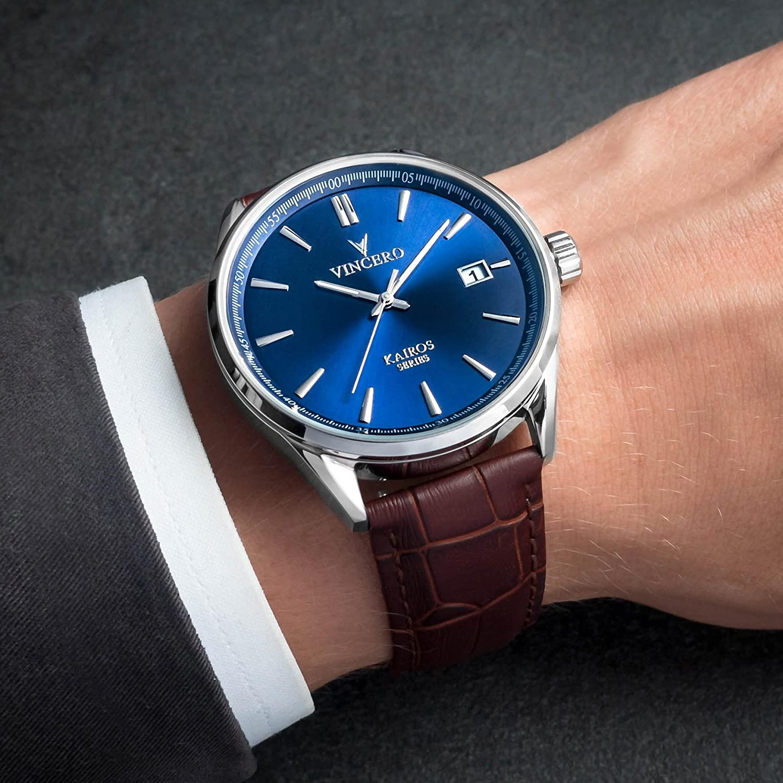 Reloj de Pulsera Kairos de Lujo para Caballero Vincero - Reloj con Disco Azul y Correa de Cuero Marrón - Reloj Analógico de 42mm - Movimiento de Cuarzo ...
