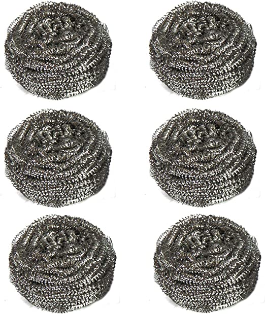 Nurkeen Steel Wool Scrubber Metal Scrubber Used for Dishes Ovens Etc Pans Durable Steel Wool Set of 6 Pots Stainless Steel Scrubber Multi-Purpose Scouring Pad for Kitchen Cleaning