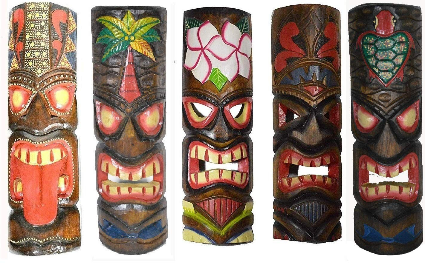 20'' Large Set of 5 Polynesian Hawaiian Tiki Style Wall Masks by WorldBazzar