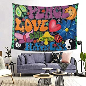 Peace Love And Happiness Tapestry Wall Hanging Trends Poster For Living Room Dorm Room Bedroom Home Decor