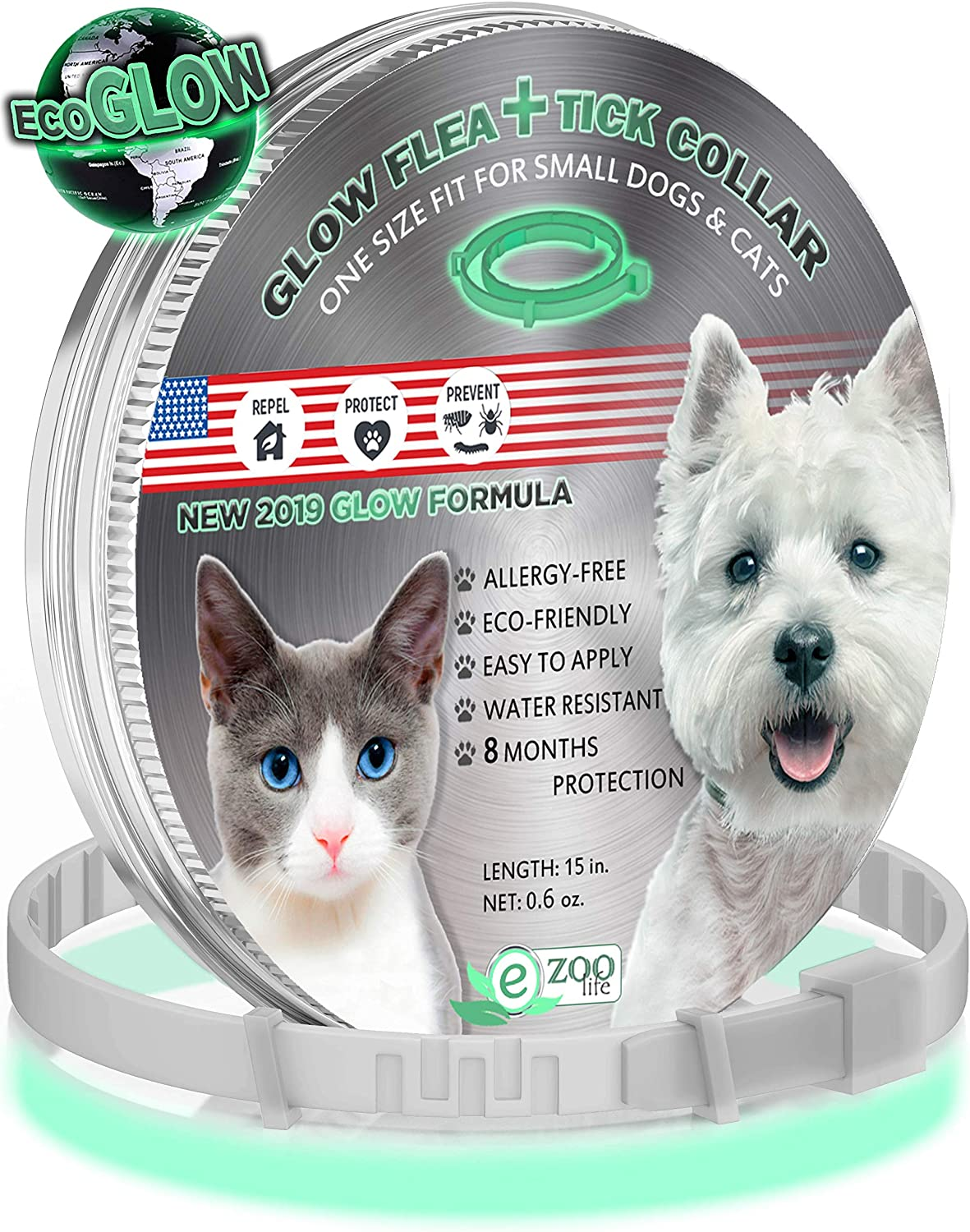 еZoolife Glow Eco Pest Control Collar: Hypoallergenic Waterproof Protection lange Lasting Flea und Tick Prevention Fully Adjustable ein Size Fits All!