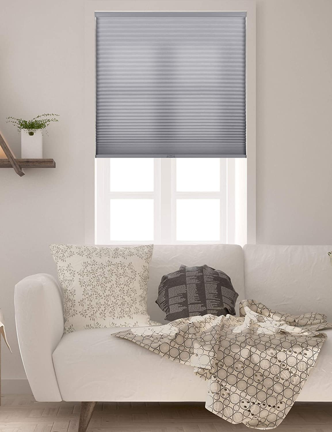 Amazon Com Arlo Blinds Single Cell Light Filtering Cordless Cellular Shades Color Grey Size 22 W X 72 H Home Kitchen