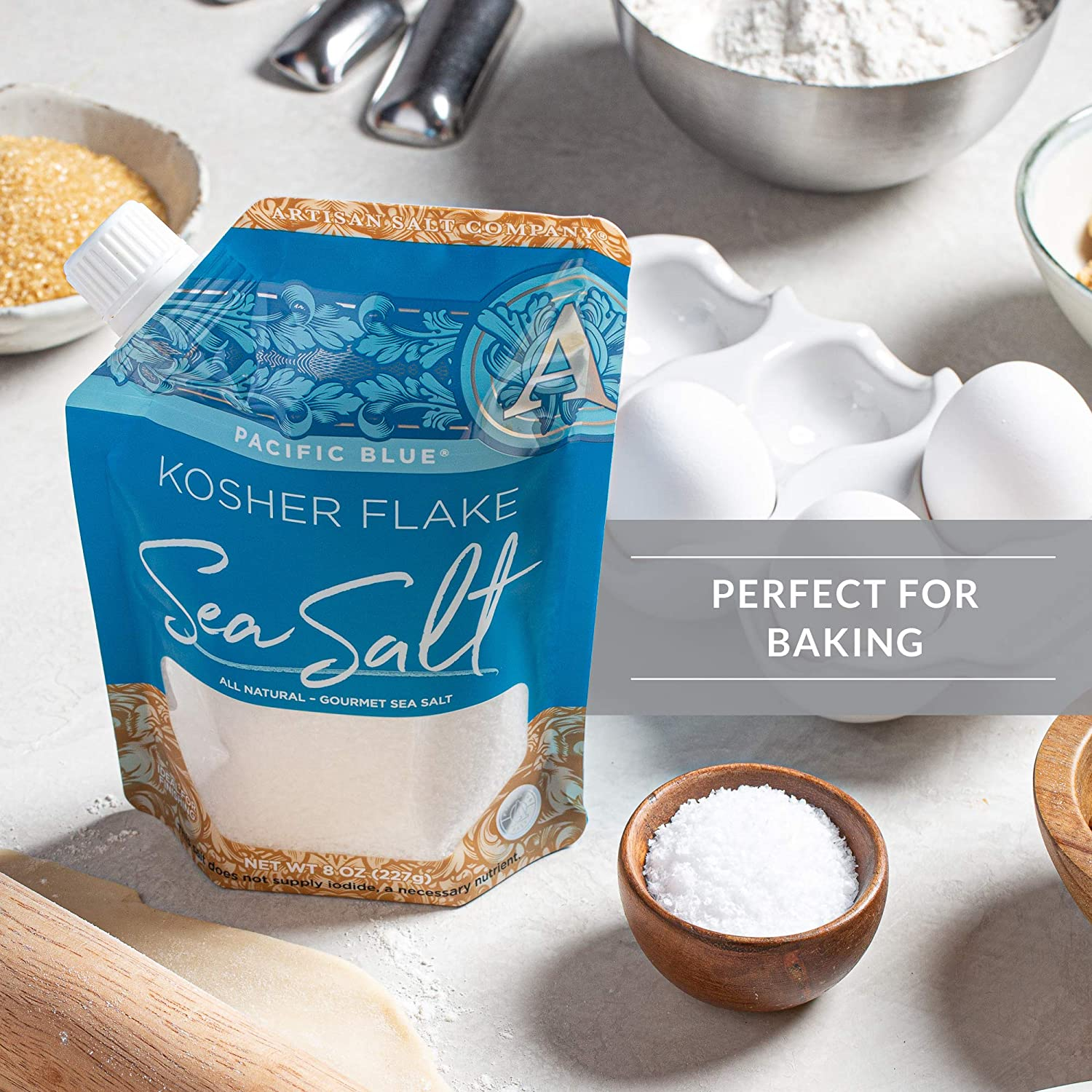 SaltWorks Pacific Blue Kosher Flake Sea Salt, Artisan Pour Spout Pouch, 8 Ounce : Grocery & Gourmet Food